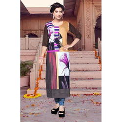 3/4th Sleeve Party Wear Crepe Kurti