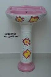 Tarryware Ceramic Printed Pedestal Wash Basin, For Home,Hotel