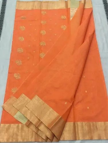 Party Wear Chanderi Saree with Blouse Piece