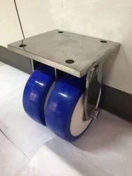150x50mm Ss 304 Fabricated Double Wheel Esd  Pu Trolley Wheels