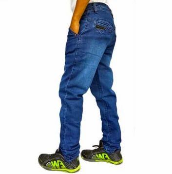 3785ed529 Plain Men Cotton Lycra Denim Jeans Dark Blue