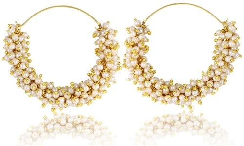 Jewellery Fashion Fancy Party Wear Earrings Gold Flowers Design Plated Earcuff