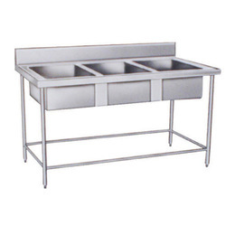 Stainless Steel Gray Three Sink Unit