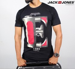 Round Half Sleeve Jack and Jones Men Printed T-Shirt
