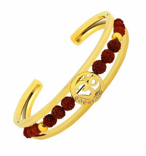 Valchand Jewellers Rudraksh Cz American Diamond 22k Gold Round Aum Om Bracelet Men