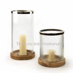 Designer Glass Hurricane Candle Holder With Wooden Base