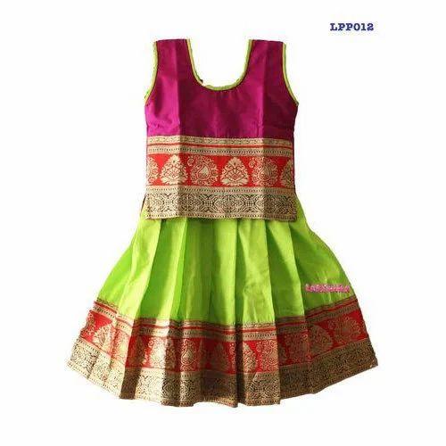 5d04ec8388 Pink & Green Cotton Kids Sleeveless Party Wear Pattu Pavadai, Rs 600 ...