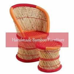 Bamboo Orange Red Chair & Stool Set