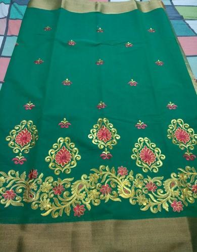 Silk Casual Wear Kota Embroidery Saree Machine 6 M With Blouse