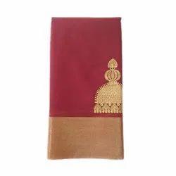 Zari Embroidered Jimikki Kammal Saree, Length: 6.3 m (with blouse piece)