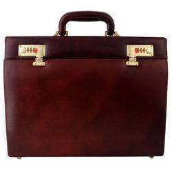 Brown Plain Leather Briefcase