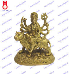 Goddess Durga Sitting Carved On Base Fine Statue