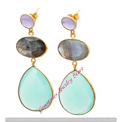Aqua Chalcedony Labradorite & Lavender Chalcedony Long Earrings