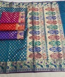 Multicolor Half Fine Zari Gold Paithani Saree, With Blouse Piece