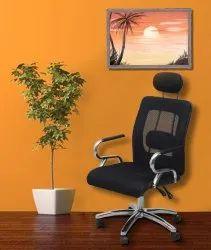 Dzyn Furnitures Aqua Mesh Fabric, Linen Office Executive Chair  (Black)