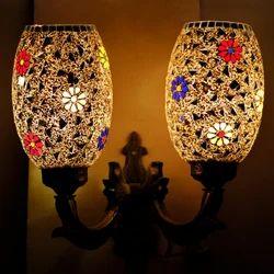Earthen Metal Wall Mounted Earthenmetal Double Glass Wall Lamp, 5 W - 100 W, For Decorative