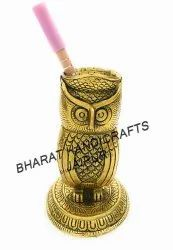 Gold Plated owl Pen Stand