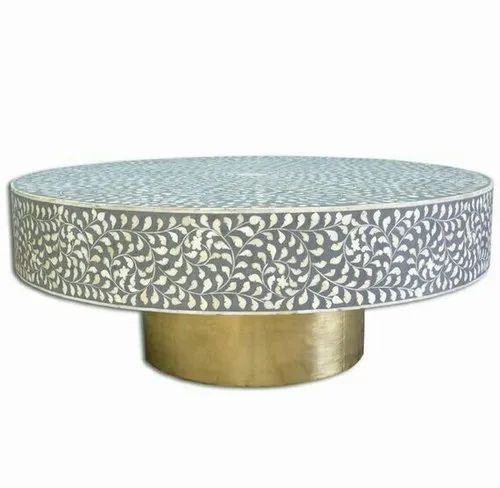 Sat Kabir Handicraft Gray And White Bone Inlay Round Coffee Table