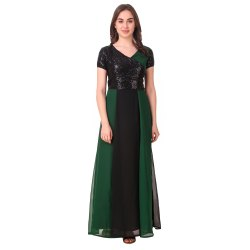 Green And Black Sequence Gown