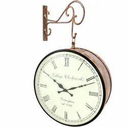 Copper Color Metal Railway Clock