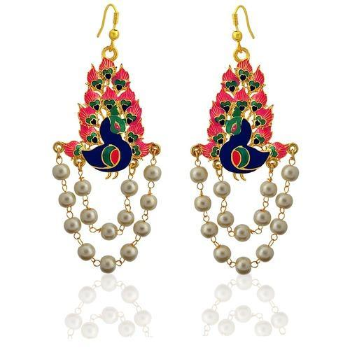 154a75815 Mk Jewellers Engagement, Meenakari Peacock Shape Gold Plated Brass Pearl  Jhumki Earring, Size: