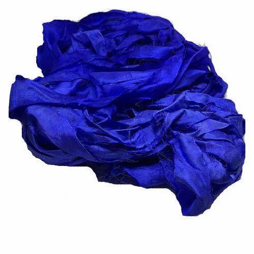 Blue Sari Silk Ribbon Yarn