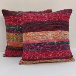 Eavan Multicolored Cotton Chindi Durrie Cushion Cover