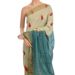 Turquiose Silk Digital Print Saree without Blouse Piece