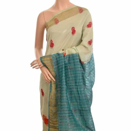 Turquiose Silk Digital Print Saree without Blouse Piece