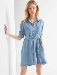Women Denim Full Sleeve Dress, Size: XL