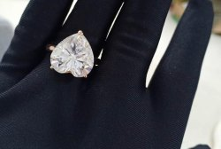 Heart White Moissanite Ring