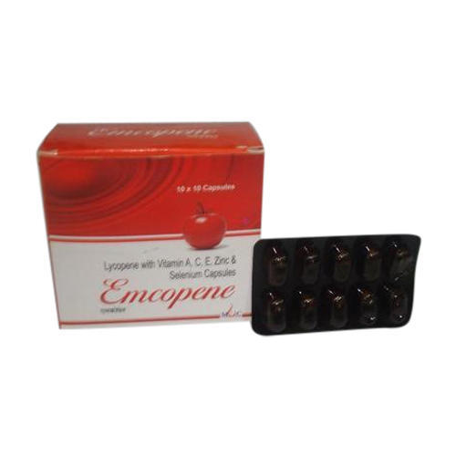 Lycopene with Vitamin A C E Zinc And Selenium Capsules, Packaging Type: Blister