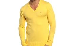 V Neck Solid Wool Mens Solid Sweater