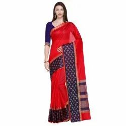Red Colored Cotton Silk Jacquard Maheshwari Traditional Wear Saree