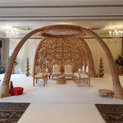 Wooden Carving Elephant Task Mandap