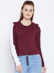 100% Cotton Women's Full Sleeve Burgundy Colour T-Shirt