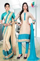 Sky Blue and Golden Italian Crepe Uniform Saree Kurti Combo