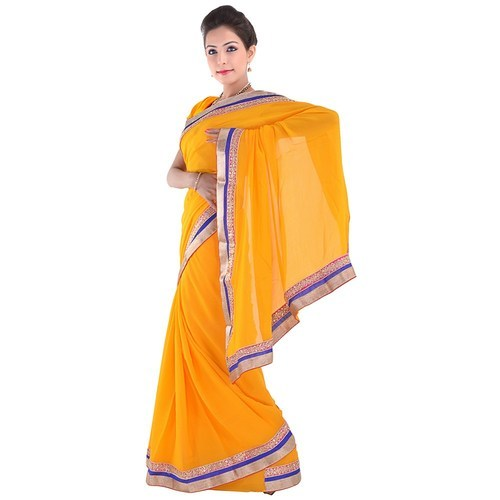 e4deaed45bc Pure Georgette Yellow Party Wear Saree 283