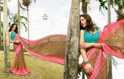 Chiffon Printed Sarees, 6.3 M(with Blouse Piece)
