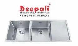 Deepali Matt Stainless Steel Double Bowl Handmade Sink with Single Drain Board