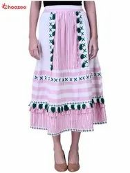 Gorgy Women Skirt with Embroidery & Tassel
