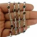 Watermelon Tourmaline Fancy Square Sterling Silver Gemstone Bezel Connector Chain