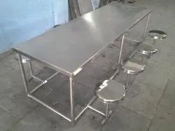 SVI Stainless Steel 202 SS Dinning Table 8 Seater, For Restaurant, Size: 76 Length X 3 Width X 26height