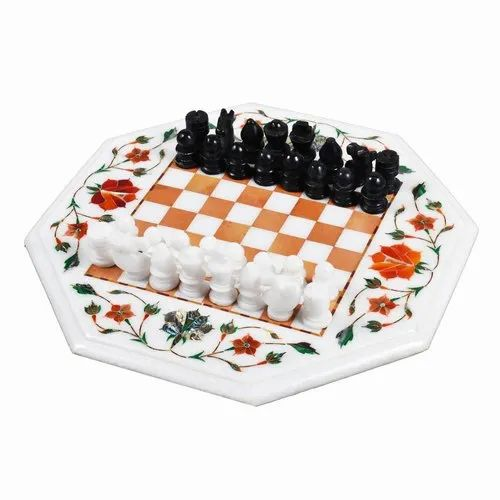 Marble Square Chess Board With Coin