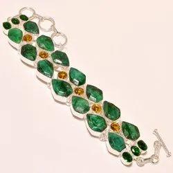 Pear Shape Emerald Gemstone Women Adjustable Silver Bracelet 8-9 inches