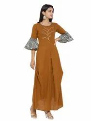 Yash Gallery Women's Cotton Blend Embroidery Kurta