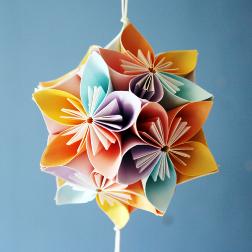 Origami japanese kusudama flower for decoration fake flower kritim origami japanese kusudama flower for decoration mightylinksfo
