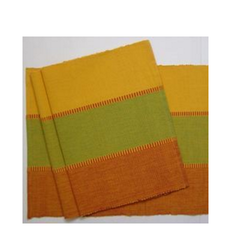 Green / Orange 100% Cotton Yarn Dyed Fusing Mat, Mat Size: 33 x 48 cm