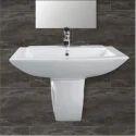 Ceramic White Basin Half Pedestal, Shape: Rectangular
