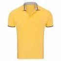 Yellow Cotton Plain Polo T Shirts